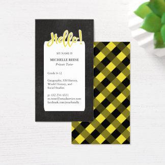 Cartão De Visitas Olá!! Tutor privado amarelo & preto