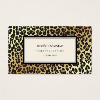 Cartão De Visitas Olhar chique à moda Glam da folha do impressão e