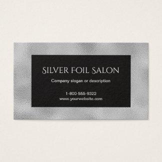 Cartão De Visitas Olhar da folha de prata do falso com preto