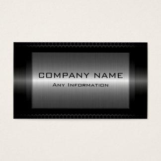 Cartão De Visitas Olhar de aço metálico preto do metal das cinzas de