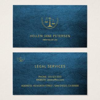 Cartão De Visitas Olhar de couro azul do ouro elegante de gama alta