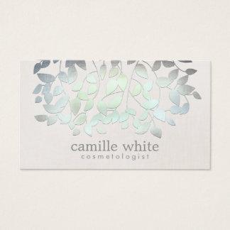 Cartão De Visitas Olhar de linho das folhas do verde azul dos termas