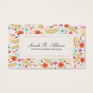 Cartão De Visitas Olhar de linho do boutique floral lunático do