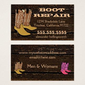 Cartão De Visitas Olhar de madeira velho das botas de vaqueiro