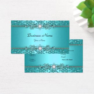 Cartão De Visitas Olhar gravado da cerceta damasco azul elegante