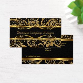 Cartão De Visitas Olhar gravado do preto do ouro damasco elegante