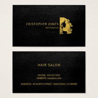 Cartão De Visitas Olhar simples luxuoso do couro do preto do ouro do