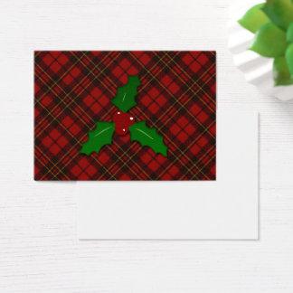 Cartão De Visitas Olhar vermelho adorável do tartan do Natal com