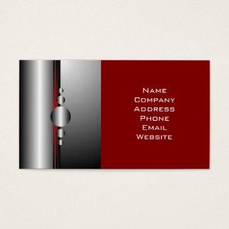 Cartão De Visitas Olhar vermelho e de prata abstrato do metal