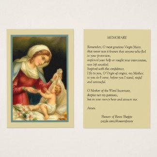 Cartão De Visitas Oração abençoada de Jesus Memorare do bebê da