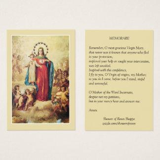 Cartão De Visitas Oração abençoada de Memorare dos anjos de Jesus da