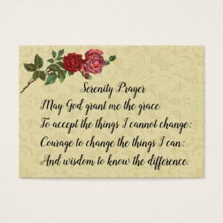 Cartão De Visitas Oração da serenidade com laço & rosas