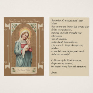 Cartão De Visitas Oração de Jesus Memorare do bebê da Virgem Maria