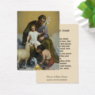 Cartão De Visitas Oração de Memorare do cordeiro do lírio de St