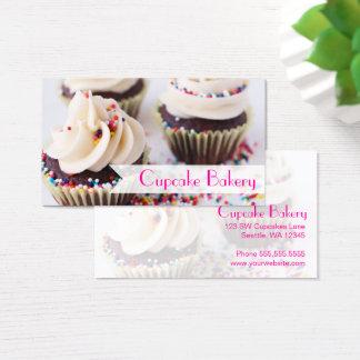 Cartão De Visitas Os cupcakes do chocolate polvilham o glacé da