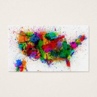 Cartão De Visitas Os Estados Unidos pintam espirram o mapa
