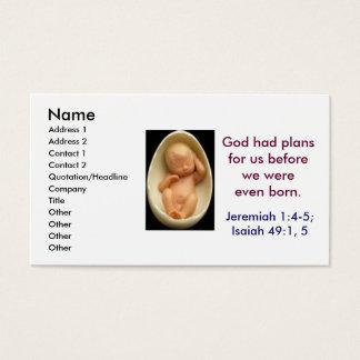 Cartão De Visitas os planos do deus