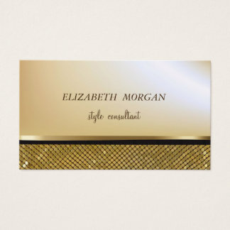 Cartão De Visitas Ouro à moda elegante do falso, Sequins cintilantes