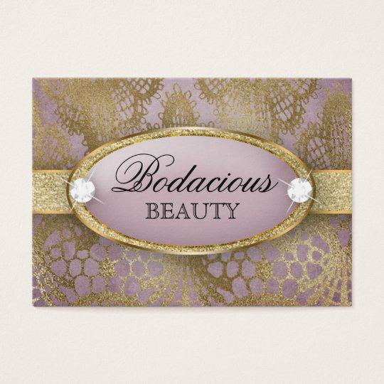 Cartão De Visitas Ouro Bodacious do malva do diamante do laço da