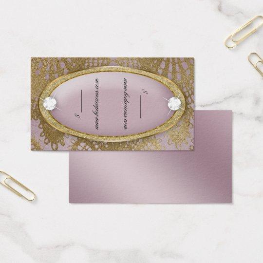Cartão De Visitas Ouro Bodacious do malva do diamante do laço do