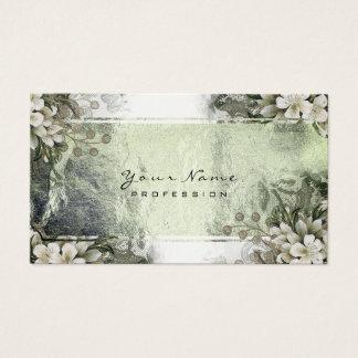 Cartão De Visitas Ouro branco floral de ouro verde da hortelã do