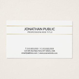 Cartão De Visitas Ouro branco moderno liso limpo sofisticado