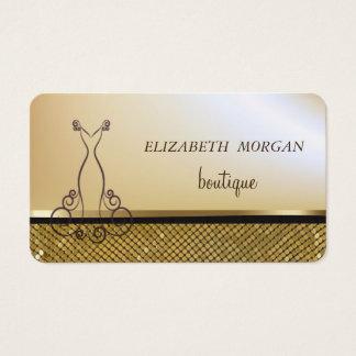 Cartão De Visitas Ouro chique elegante, Sequins cintilantes do ouro,