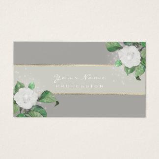 Cartão De Visitas Ouro cinzento verde das flores brancas de