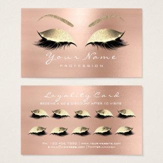 Cartão De Visitas Ouro cor-de-rosa da extensão dos chicotes da