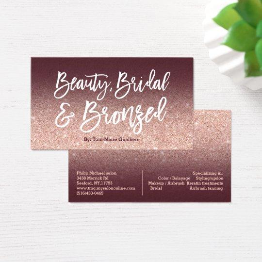 Cartão De Visitas Ouro cor-de-rosa de Borgonha da tipografia chique