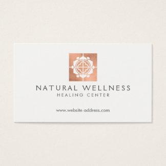 Cartão De Visitas Ouro cor-de-rosa do logotipo floral do bem-estar