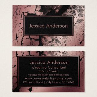 Cartão De Visitas Ouro cor-de-rosa dramático e textura marmoreada