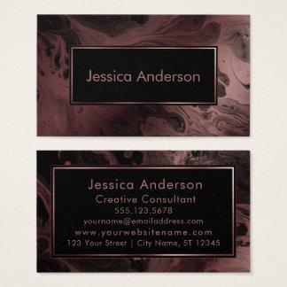 Cartão De Visitas Ouro cor-de-rosa modelado e textura marmoreada