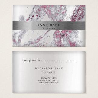 Cartão De Visitas Ouro de mármore cinzento 3D da prata da nomeação