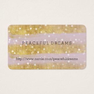 Cartão De Visitas Ouro e confetes de Bokeh das listras do rosa
