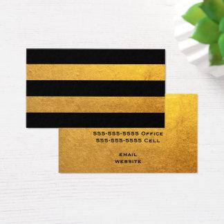 Cartão De Visitas Ouro e listra preta