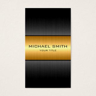 Cartão De Visitas Ouro e metal de aço inoxidável do preto
