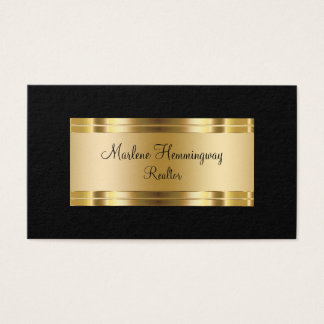 Cartão De Visitas Ouro elegante e corretor de imóveis preto
