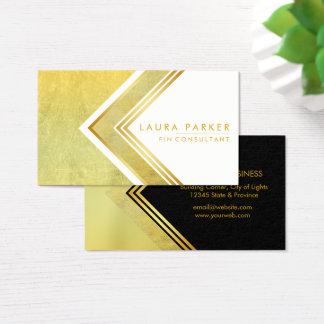 Cartão De Visitas Ouro elegante moderno geométrico profissional
