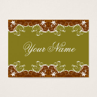 Cartão De Visitas Ouro escuro elegante e flores brancas