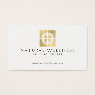 Cartão De Visitas Ouro floral do falso do logotipo do bem-estar da