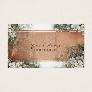 Cartão De Visitas Ouro floral do rosa branco de ouro verde da