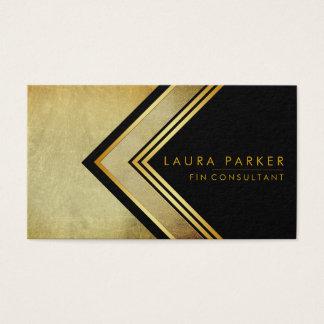 Cartão De Visitas Ouro geométrico elegante profissional moderno