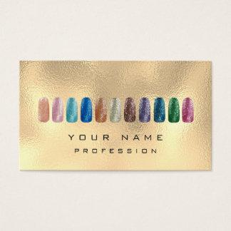 Cartão De Visitas Ouro Glam metálico de Champagne do brilho da arte