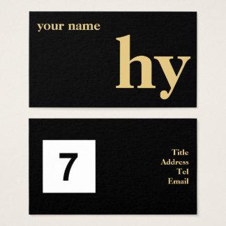 Cartão De Visitas Ouro inicial simples do design no preto