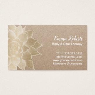 Cartão De Visitas Ouro Kraft rústico floral dos termas da terapia da