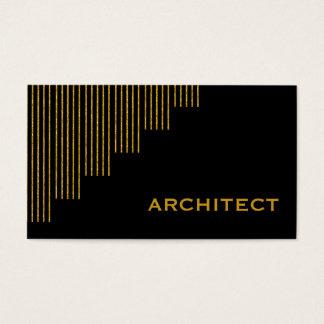 Cartão De Visitas Ouro moderno, arquiteto preto das listras