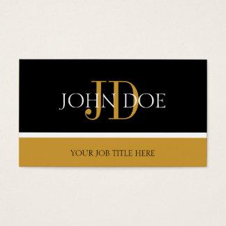 Cartão De Visitas Ouro preto/amarelo do monograma de YourJobTitle