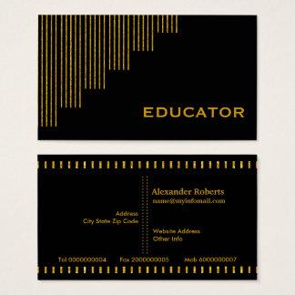 Cartão De Visitas Ouro, professor das listras verticais do preto