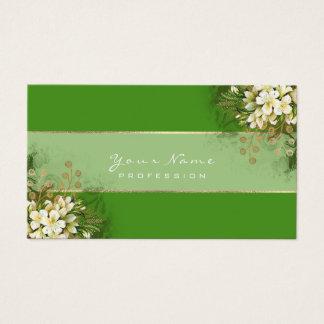 Cartão De Visitas Ouro verde das hortaliças das flores brancas de